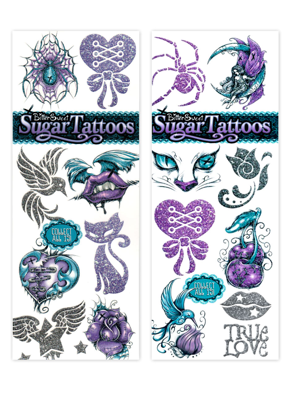 BitterSweet 2 Purple Sugar Tattoos (display)