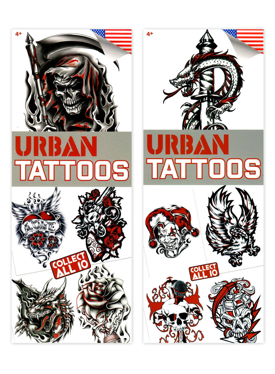 Urban 4~w/ a pop of red Tattoos (display)