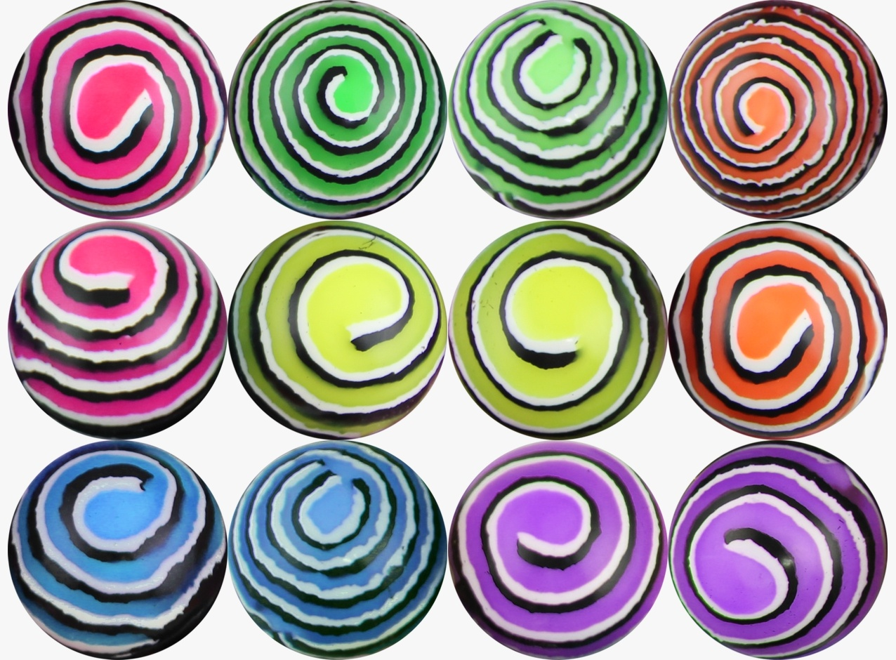 Colored Stripes Hi-Bounce Balls 49 mm