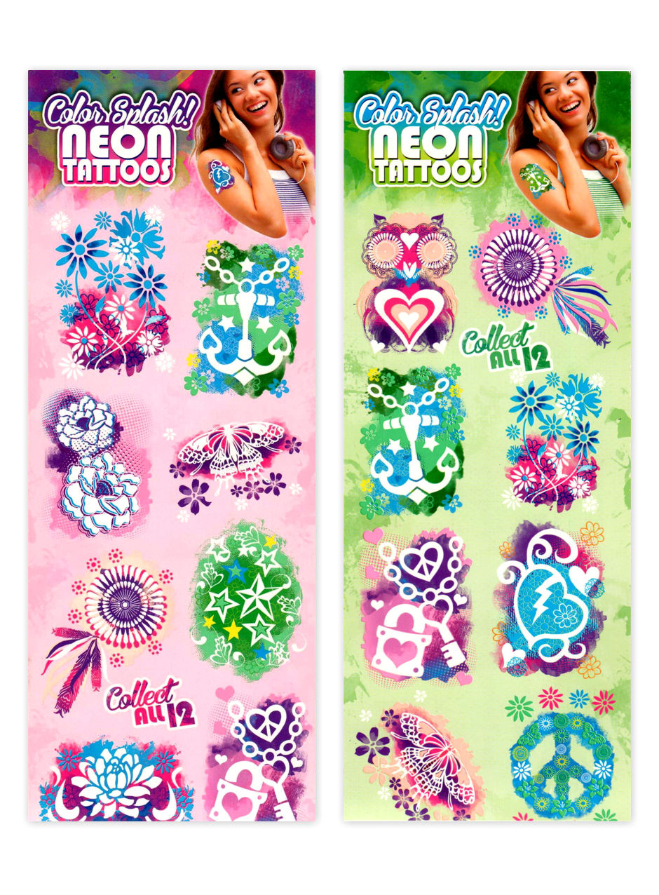 Color Splash Neon Tattoos (display)