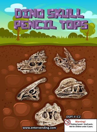 Dino Skull Pencil Tops Mix 2