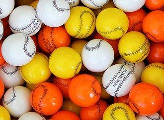 Baseball Gumballs 25 mm gumballs in bulk